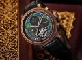 Heritor Automatic Aura Semi-Skeleton Vitreous Enamel Leather-Band Watch