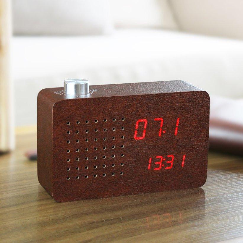 Leatherette Radio Click Clock