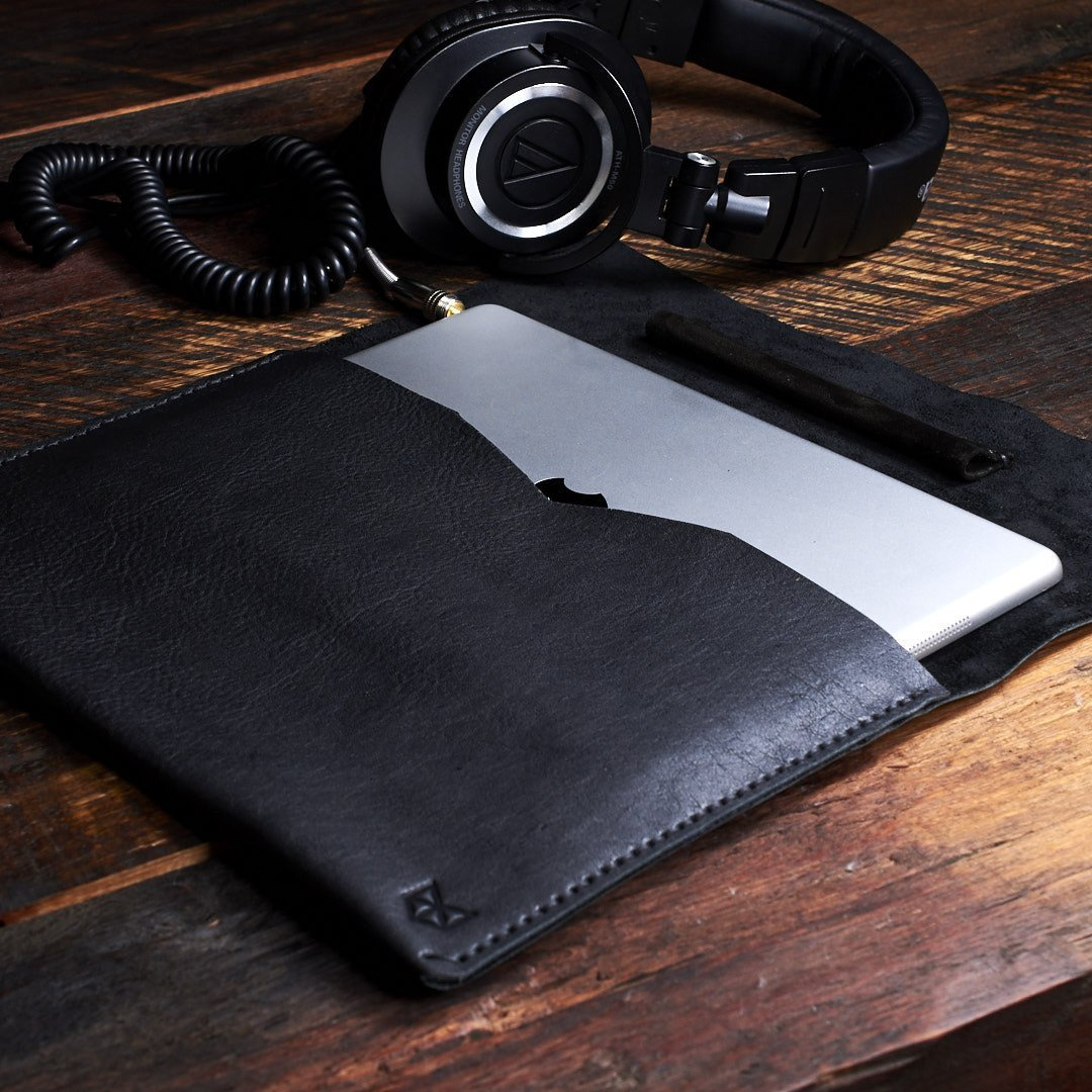 Black Draftsman 1 Leather iPad Case