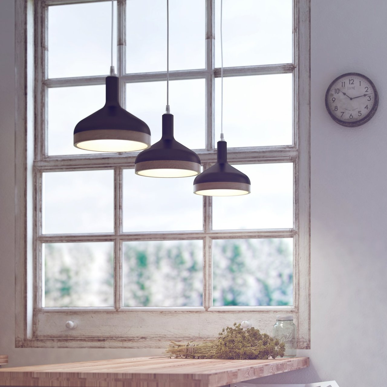 Plera Matte Black & Beech Wood Suspension Lamp