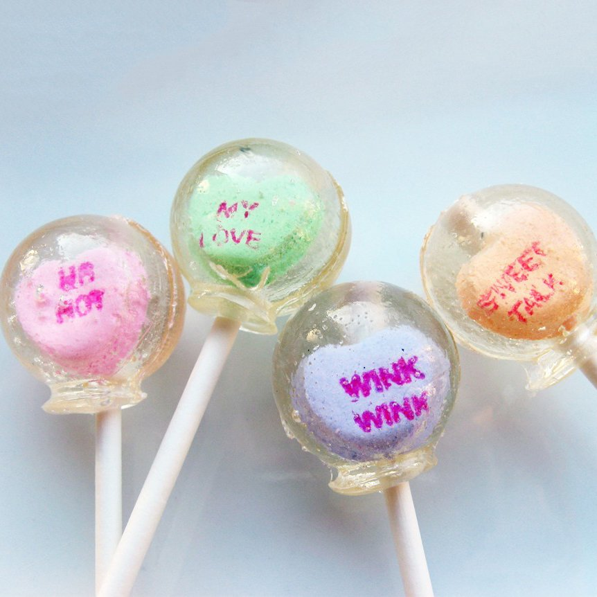 Conversation Hearts Lollipops by Vintage Confections