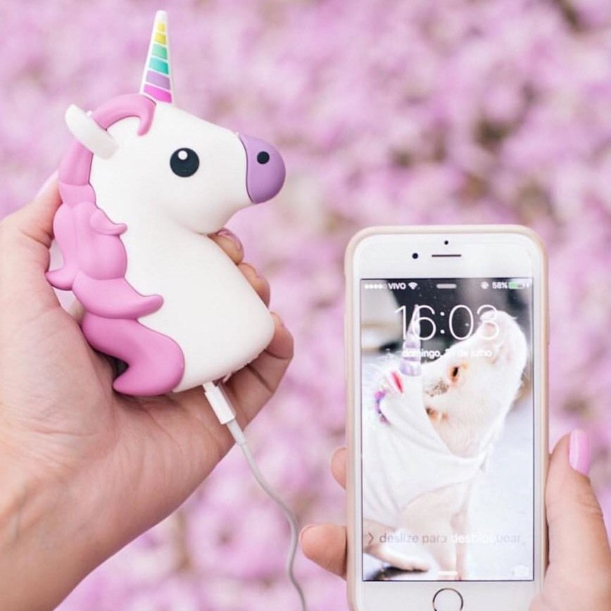 White Unicorn Emoji Power Bank