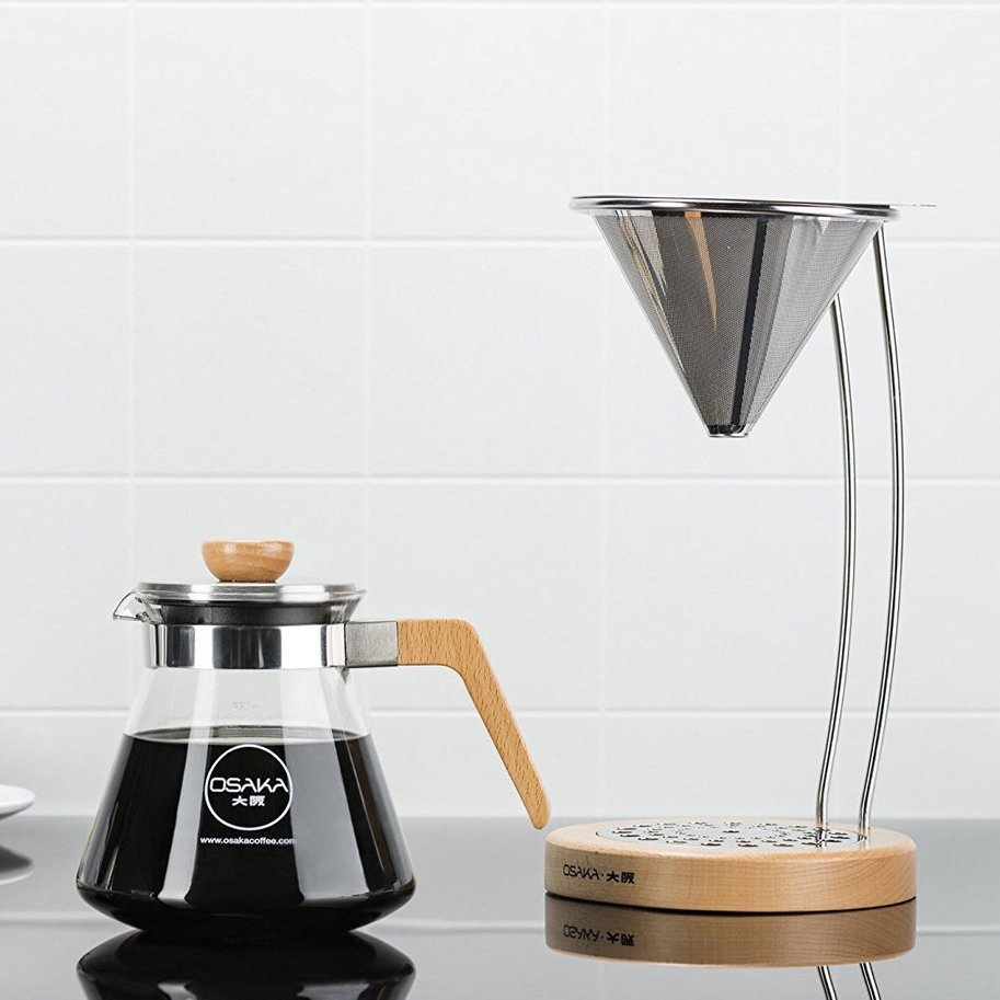 Pour-Over Coffee Dripper with Natural Wood Stand