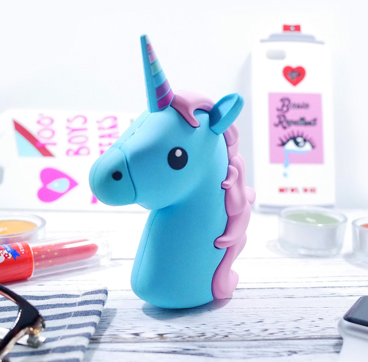 Blue Unicorn Emoji Power Bank