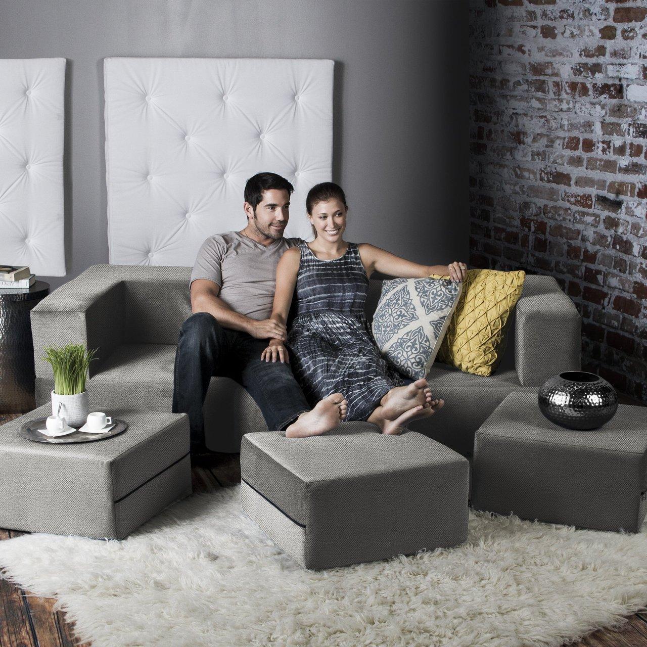 Jaxx Zipline Convertible Sleeper Sofa & Ottomans (King Size Bed)