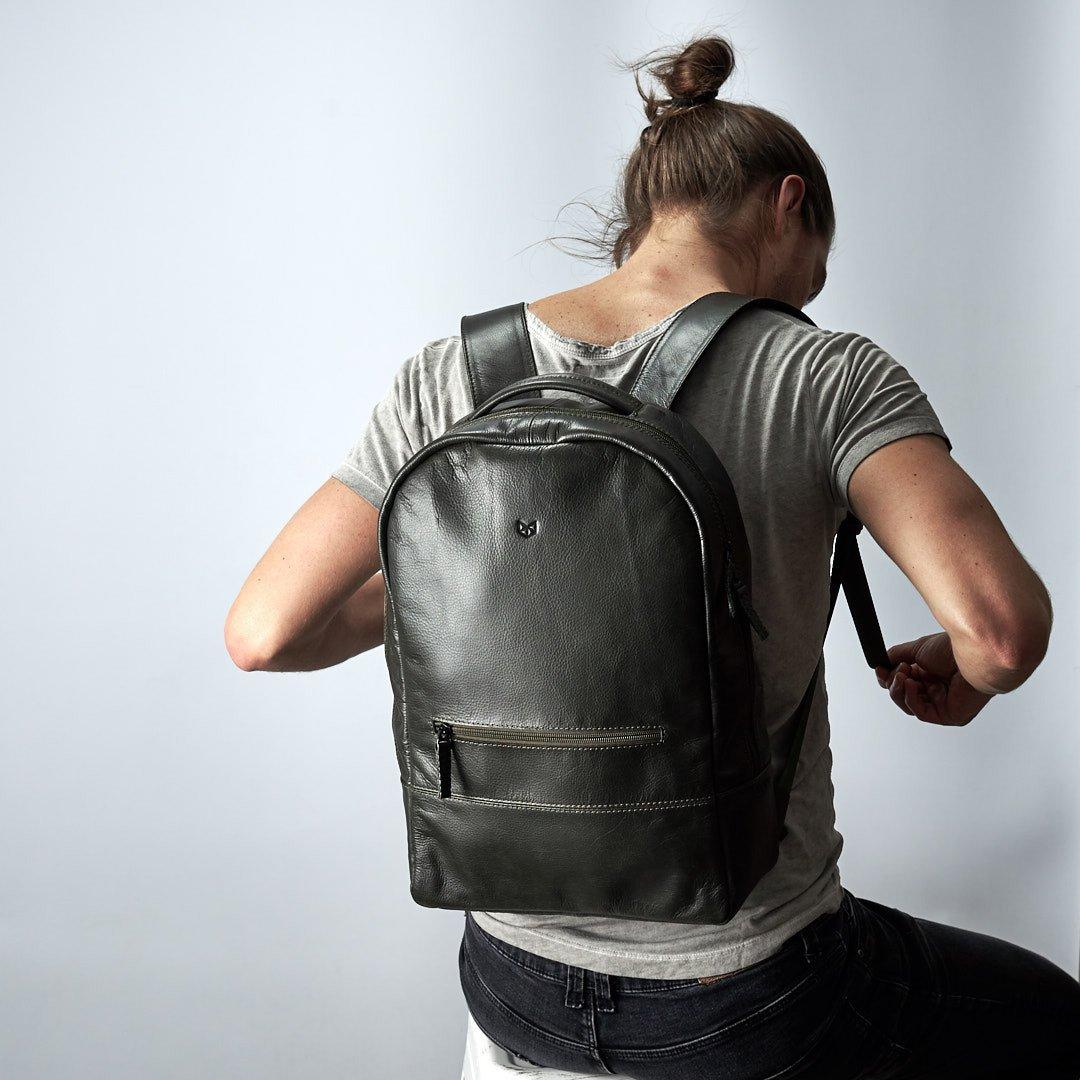 Hunter Green Bisonte Leather Backpack