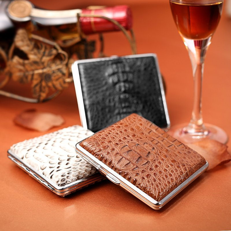 Genuine Crocodile Skin Cigarette Case