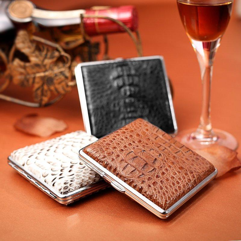 Genuine Crocodile Skin Cigarette Case