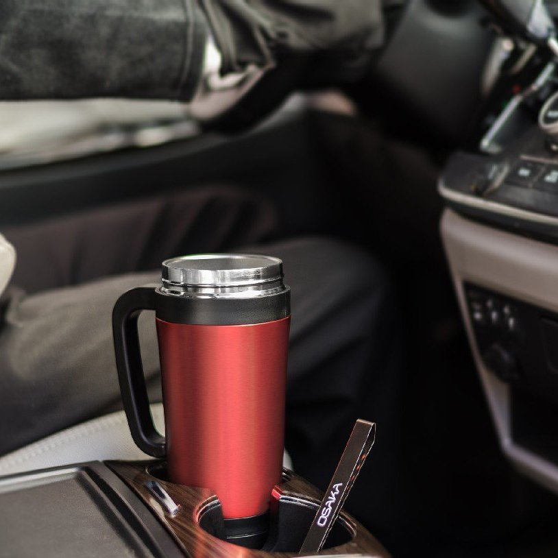 Red Travel Thermos with Built-in Pour Over Dripper
