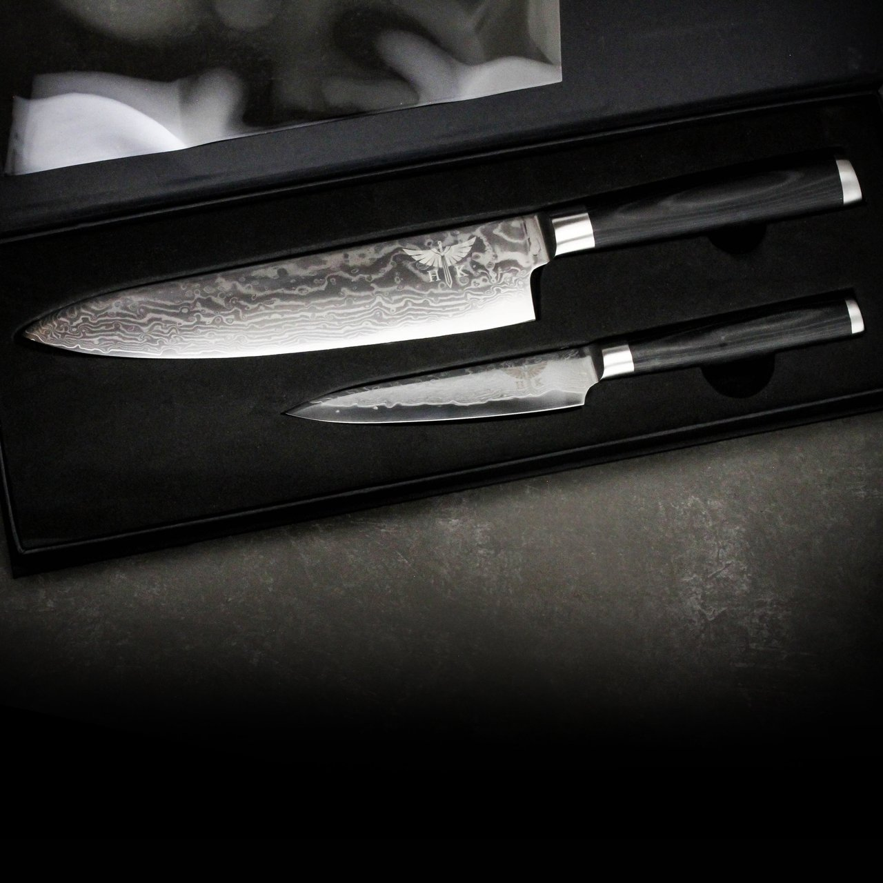 HTC-1 Black Micarta Chef Knife and Paring Knife Set