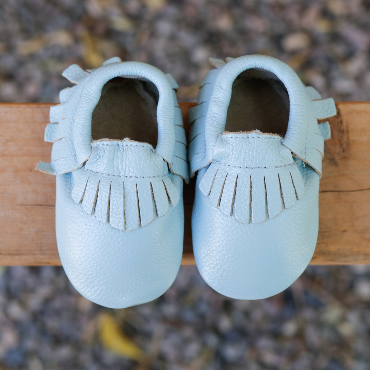 Baby Gladiator Leather Moccasins Light Blue Lagoon