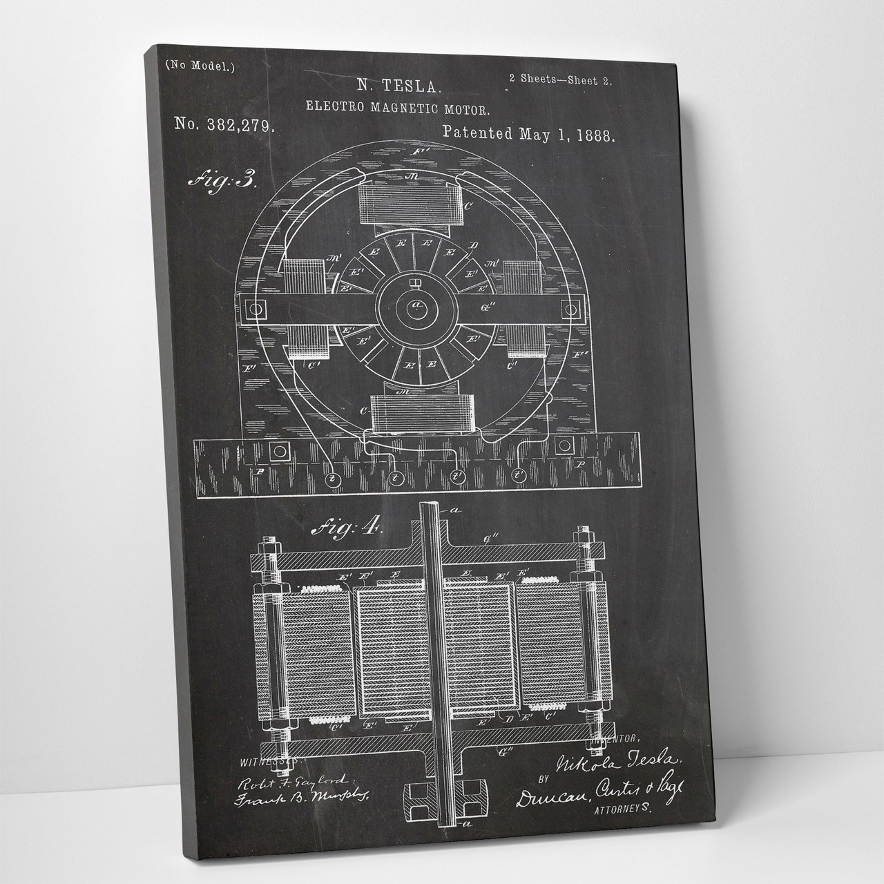 Tesla Electro Magnetic Motor Patent Print Gallery Wrapped Canvas