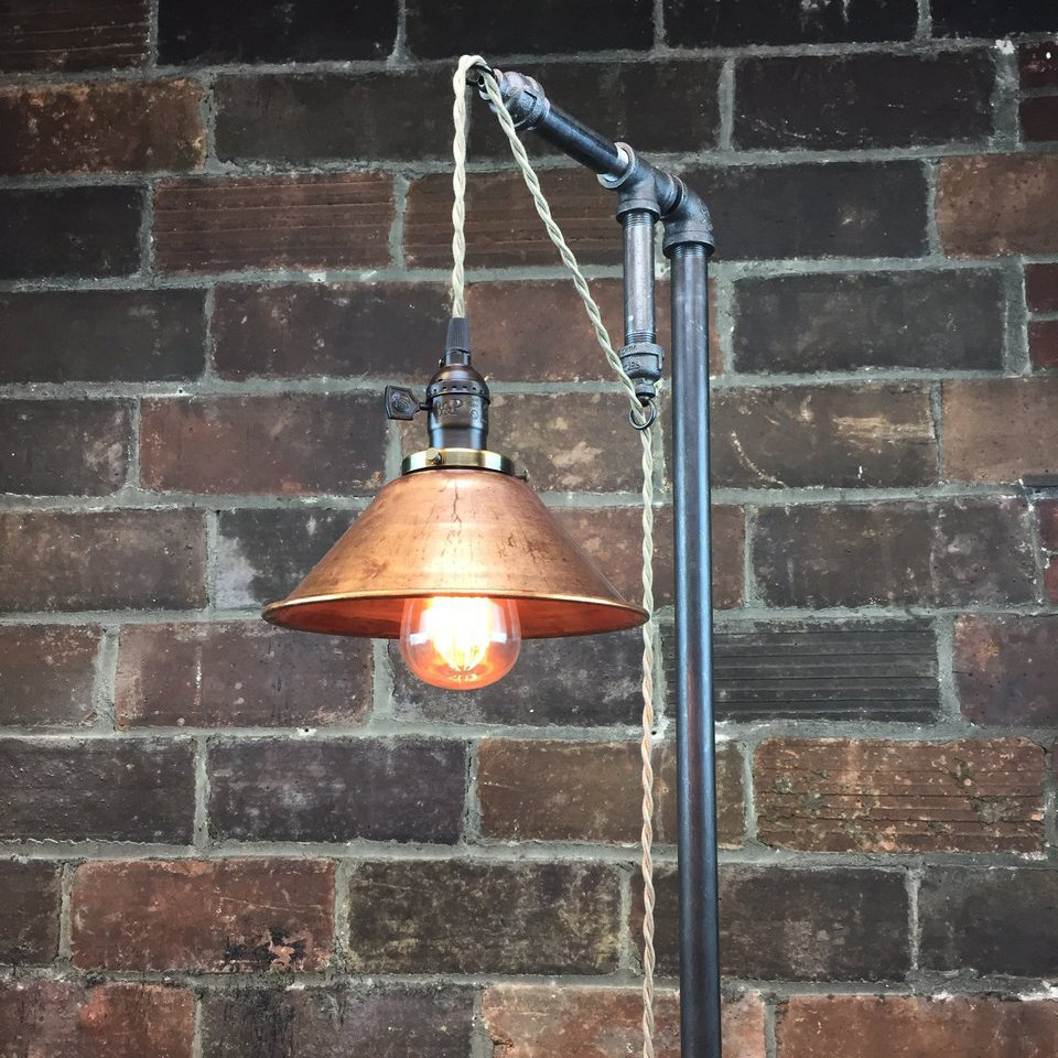 Aged Copper Pendant Floor Lamp