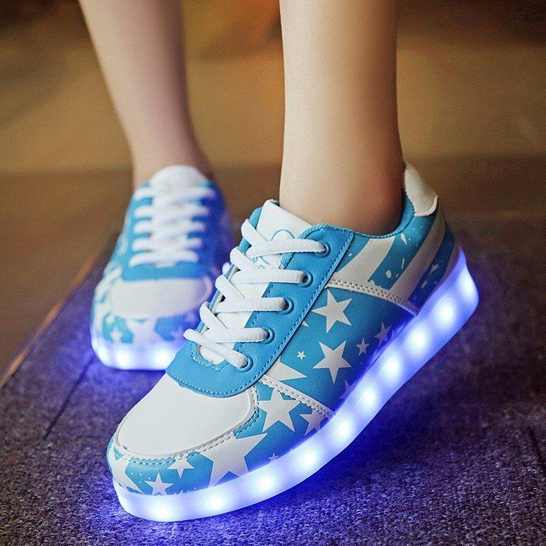 Stars Blue LED Sneakers