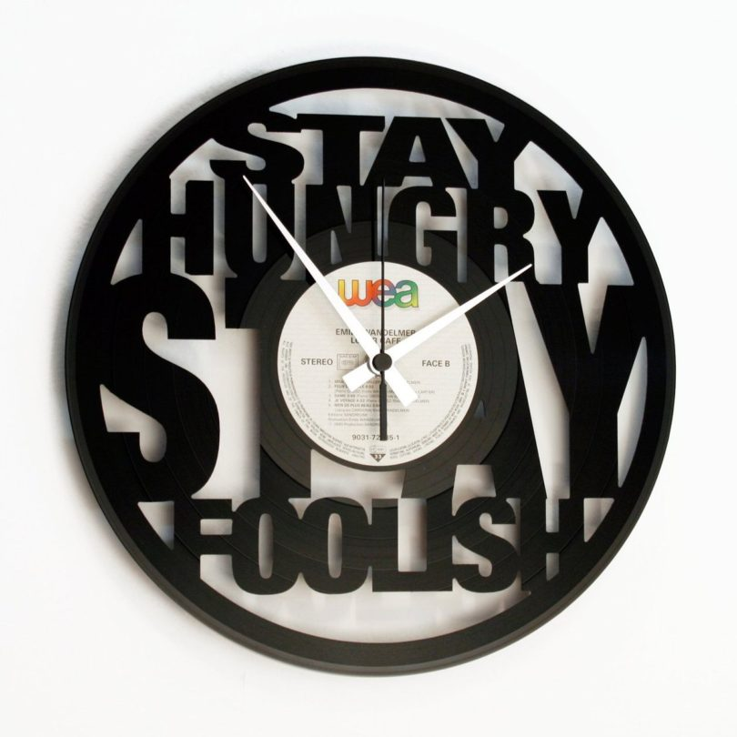 Stay Hungry Stay Foolish Vinyl Wall Clock