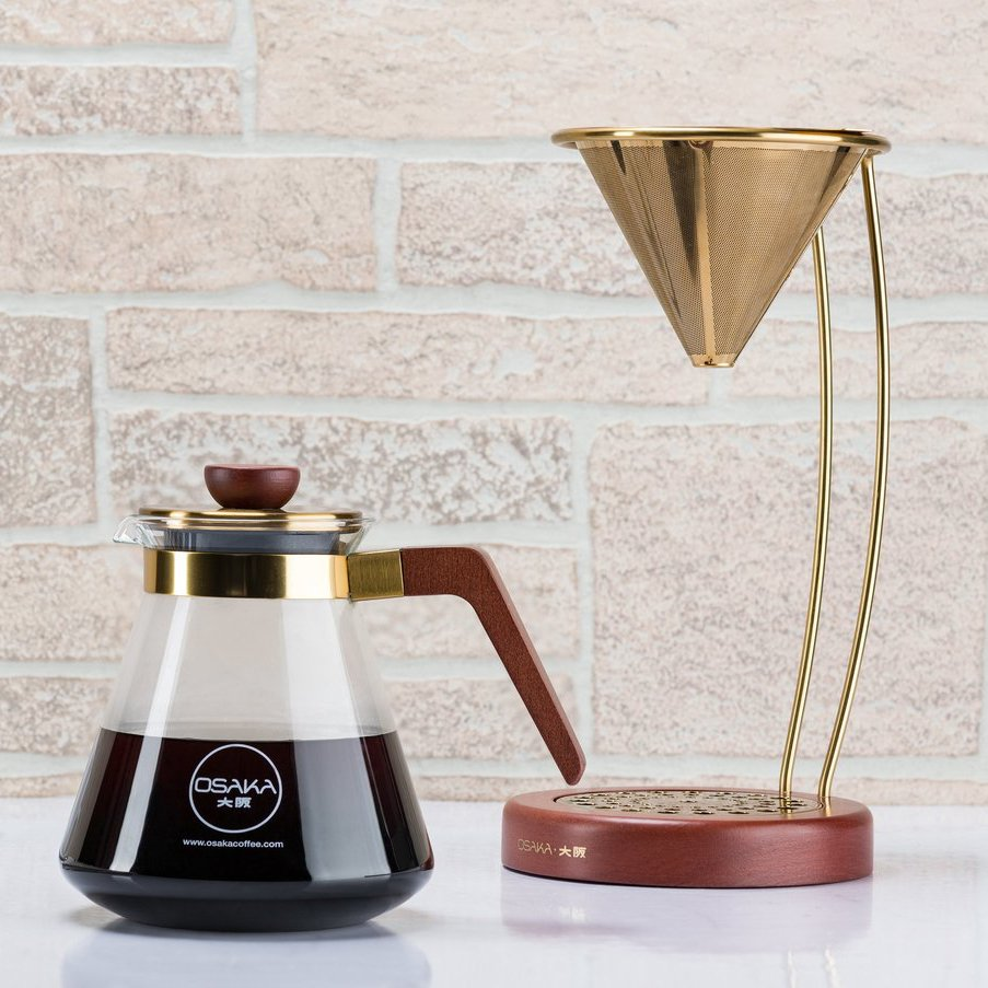 Large Gold Pour-Over Coffee Dripper by Osaka Coffee