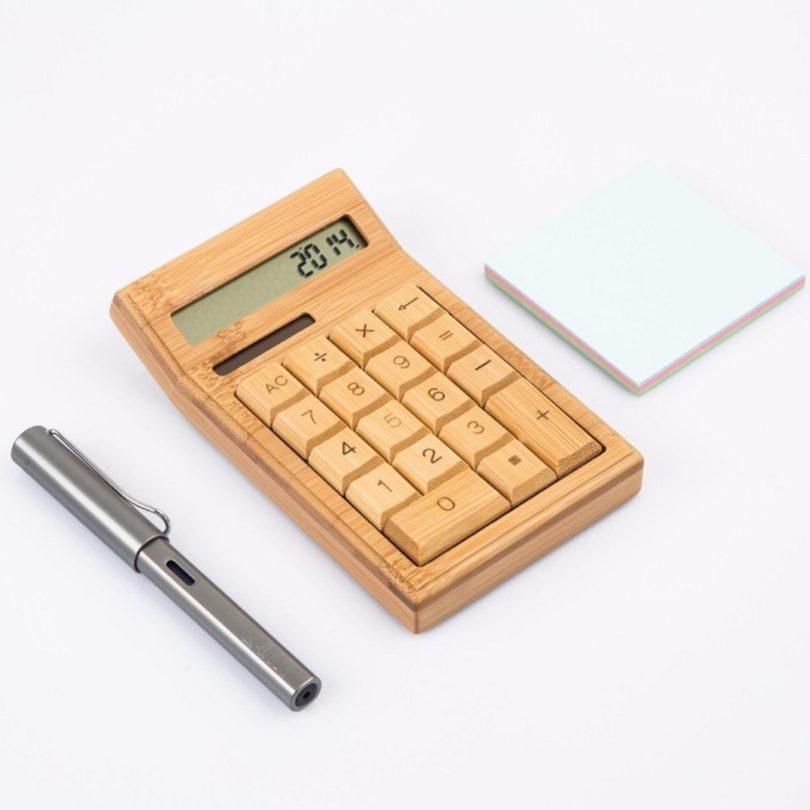 Wooden Solar & Battery Powered Calculator