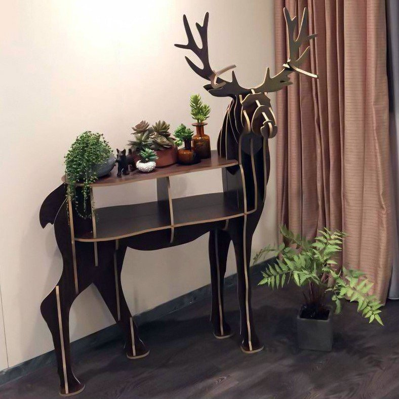 Wooden Deer Shelf & Table
