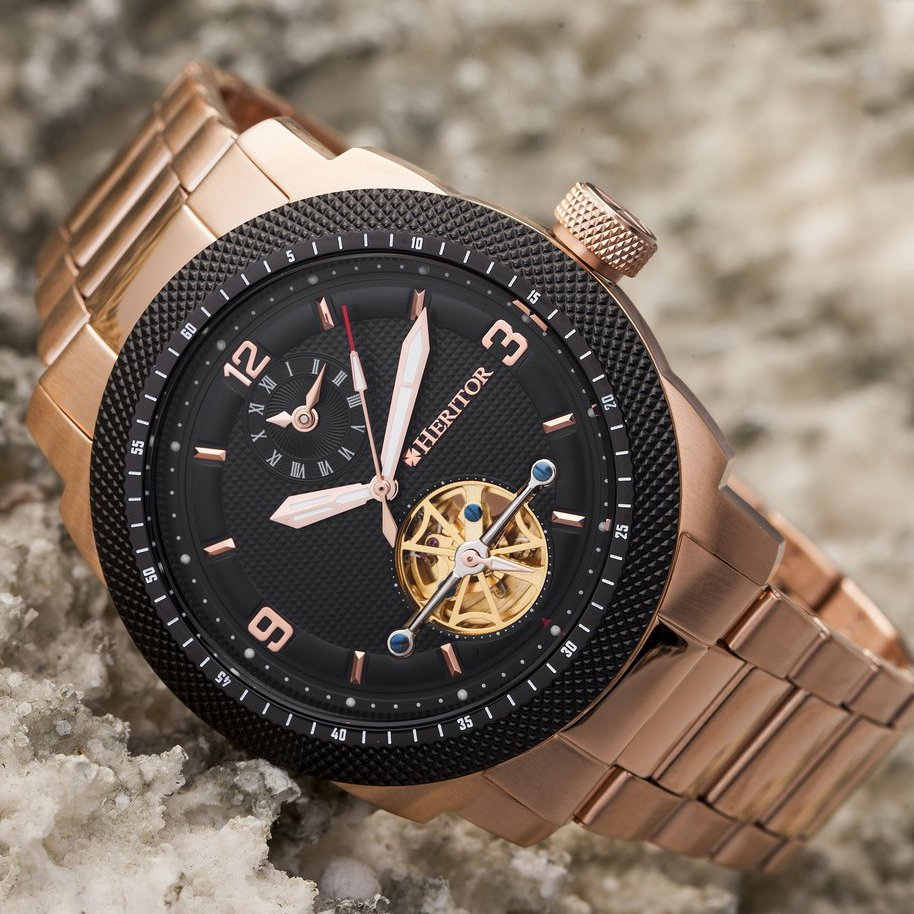 Heritor Automatic Helmsley Semi-Skeleton Bracelet Watch