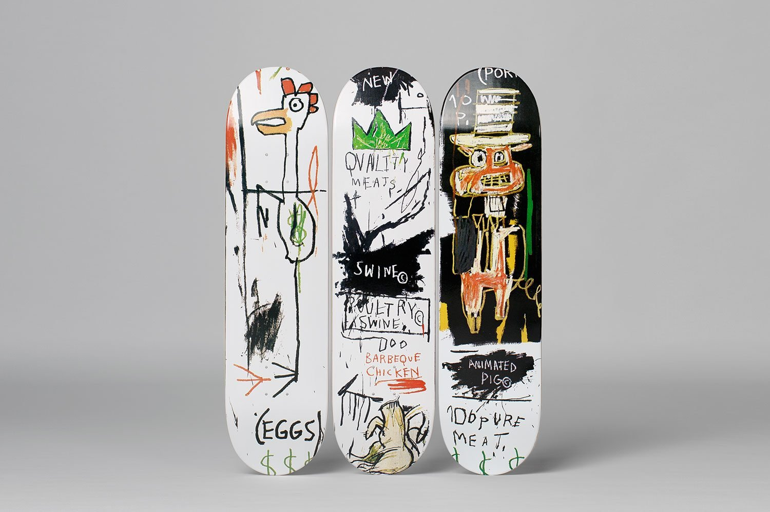 Jean-Michel Basquiat: Skateboard Triptych Quality Meats for the Public