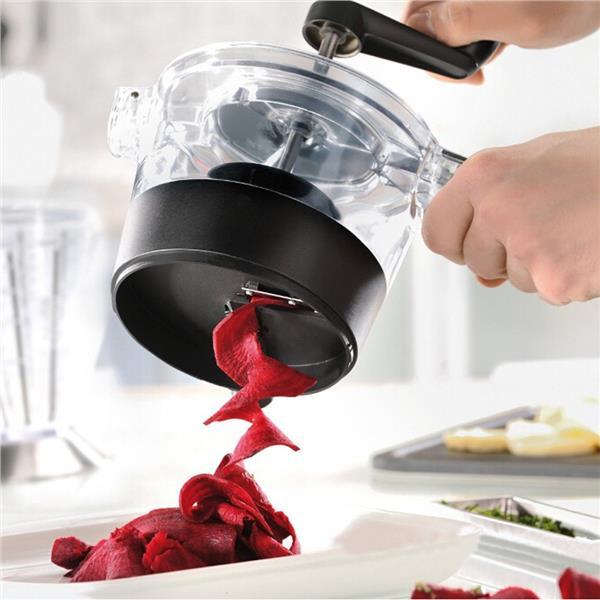 Spiral Slicer with Integrated Crank Handle and Removable Base Bowl