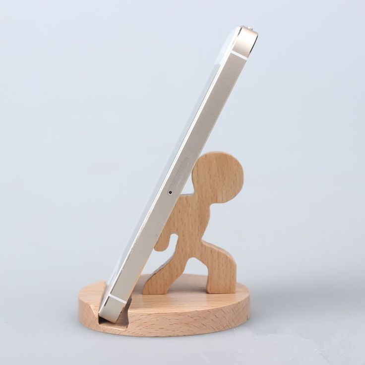 Creative Cute Natural Wooden cell Phone Stand