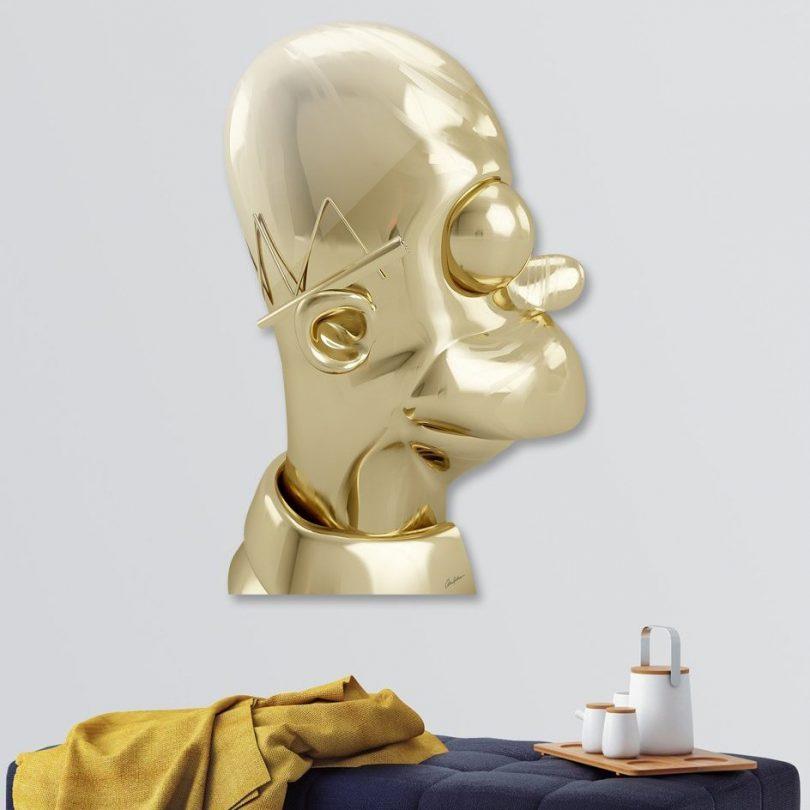 Golden Homer Die Cut Print by Antoni Tudisco