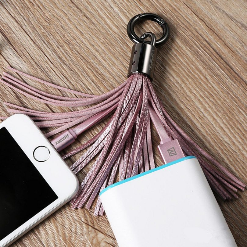 Leather Tassel USB Lightning Cable Key Chain
