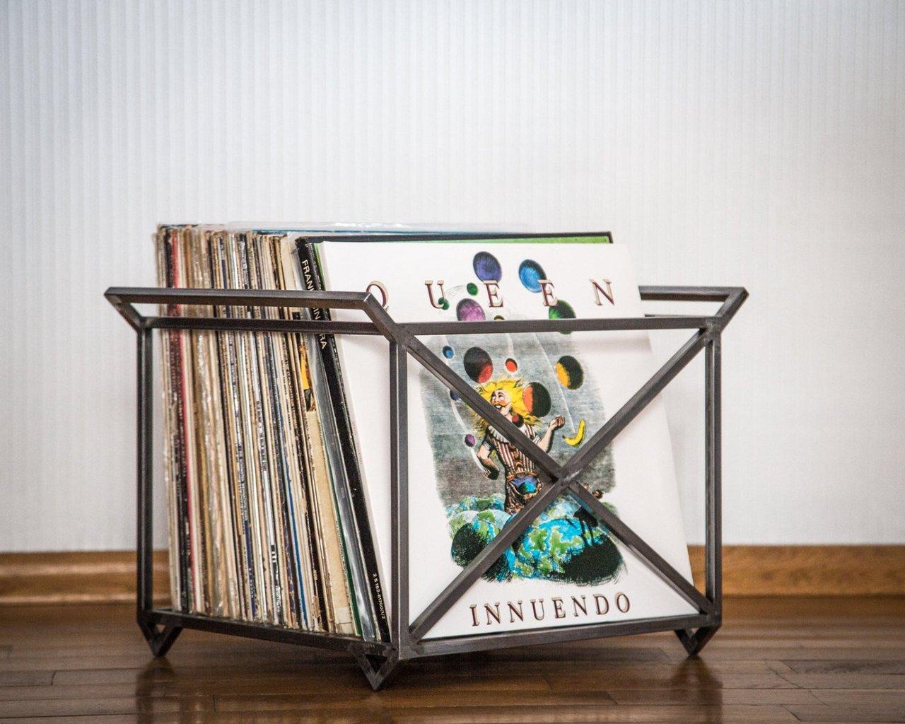 12 Quot Vinyl Lp Record Storage Metal Crate 187 Petagadget