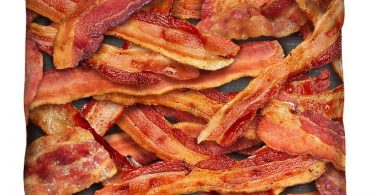 Bacon Collage Throw Pillow