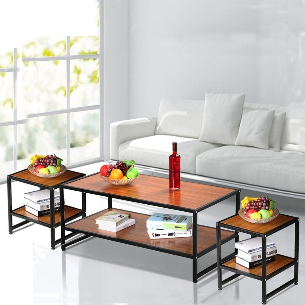 go2buy 3 Piece Coffee Table Set