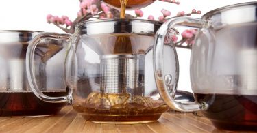 Glass Teapot with Infuser for Blooming and Loose Leaf Tea Pot by Cozyna
