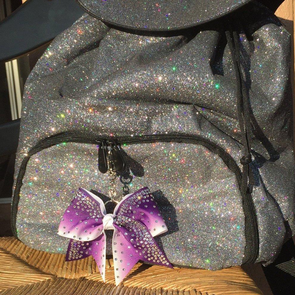 Purple Rhinestone Ombre Key Chain Bow