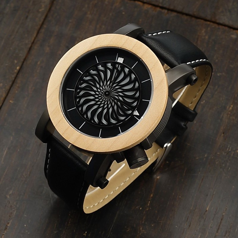 Handmade Self Winding Wood and Leather Watch