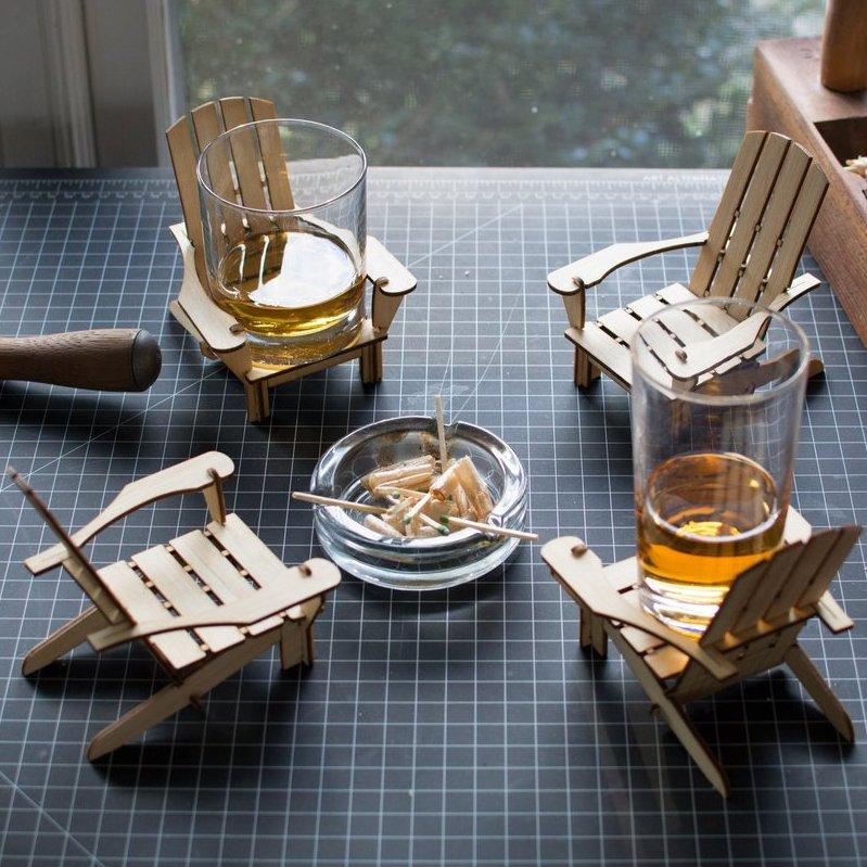 Bamboo Adirondack Chair Coaster Set