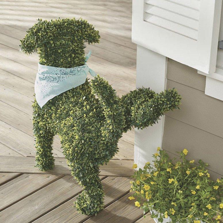 Peabody Faux Boxwood Garden Dog