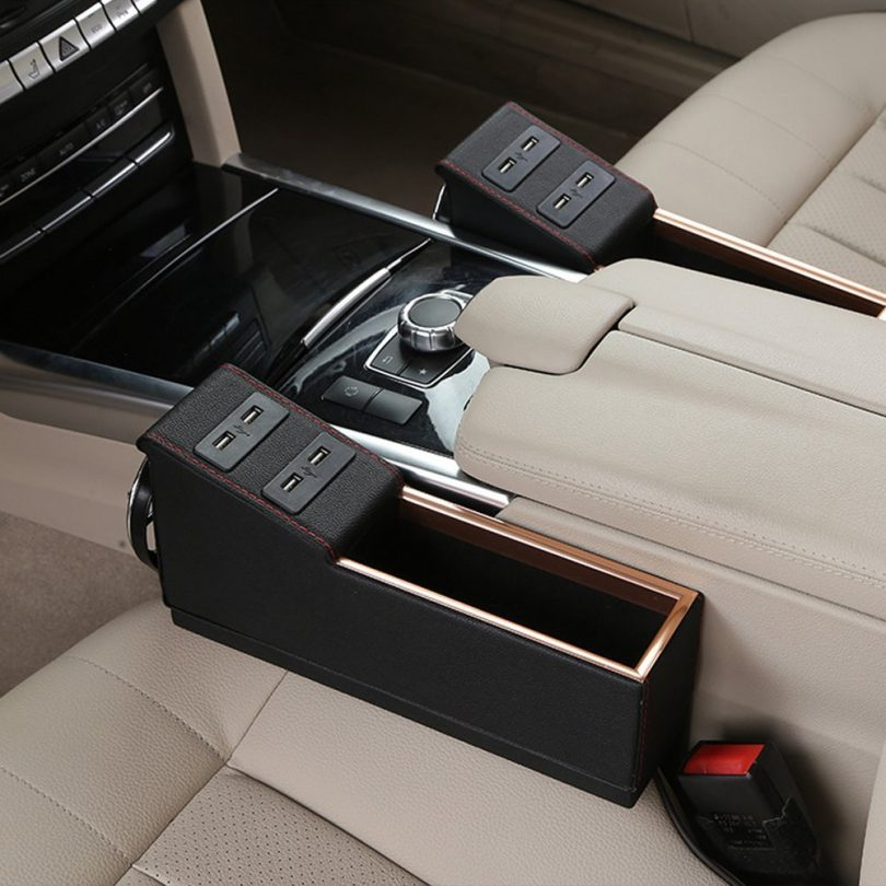 Console Side Pocket Cup Holder & USB Charge Port