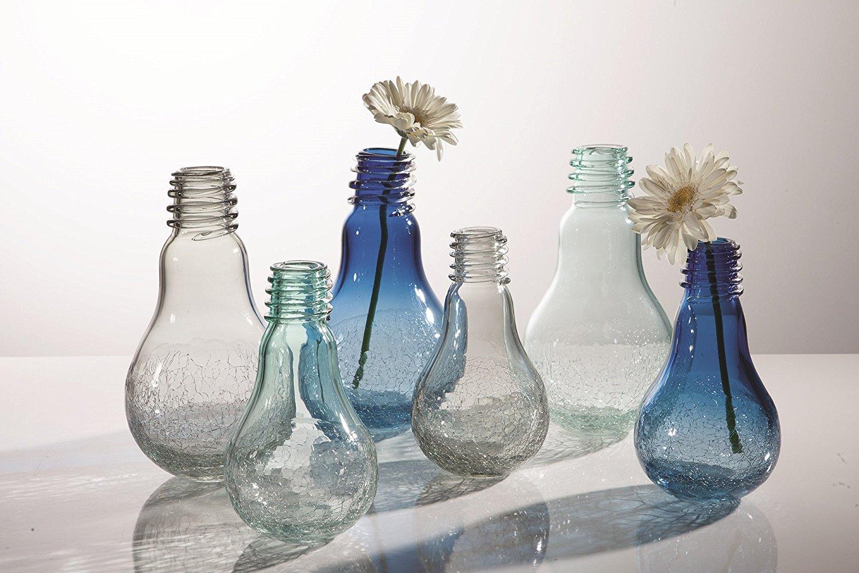 Torre & Tagus Lightbulb Glass Crackle Vase