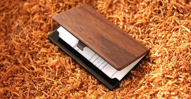 Stainless Case for Business Cards with Wood Accents