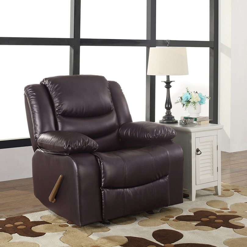 Bonded Leather Rocker Recliner Chair