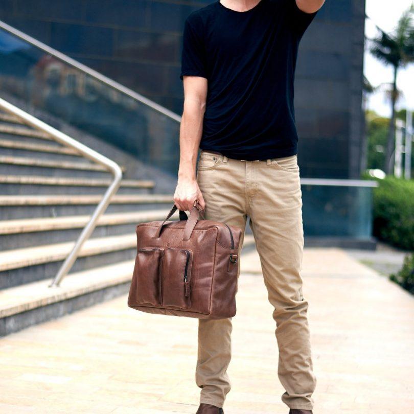 Brown Leather Equz Messenger Bag
