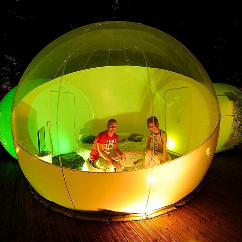 Inflatable Bubble Tent with Two Privacy Tunnels