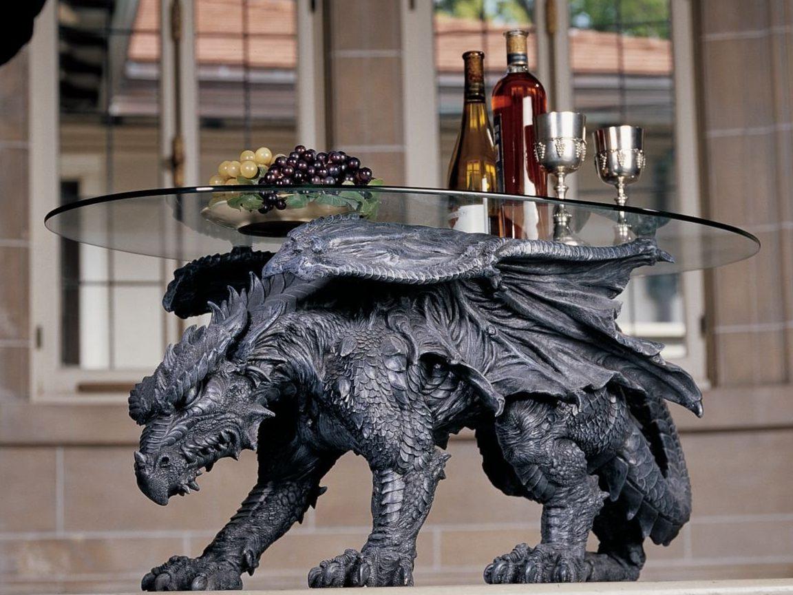 Design Toscano Warwickshire Dragon Glass-Topped Coffee Table