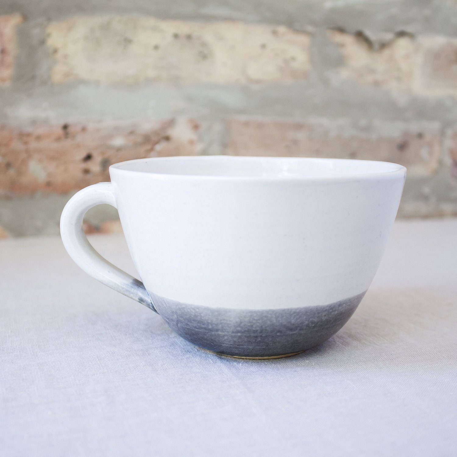 Gray Dipped Ceramic Coffee Cup by Barombi Studios