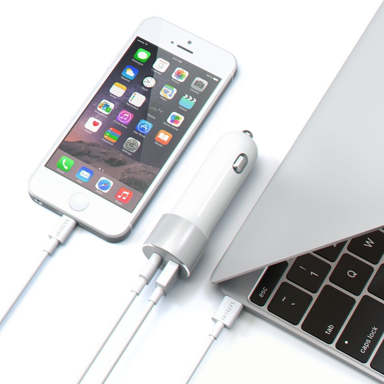 Satechi Type-C USB and Standard USB A Car Charger