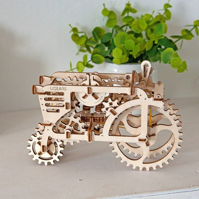 Wooden Tractor 3D Puzzle Tinker Toy by UGEARS