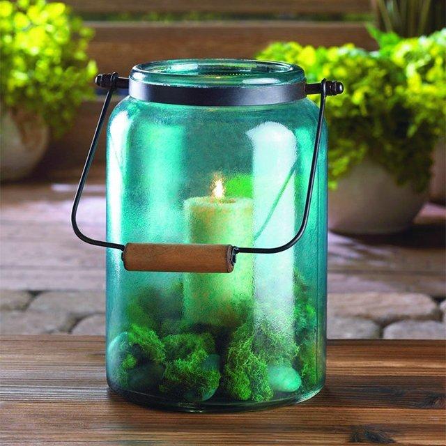 Blue Jar Candle Lantern