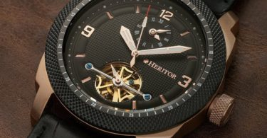 Heritor Automatic Helmsley Semi-Skeleton Leather-Band Watch