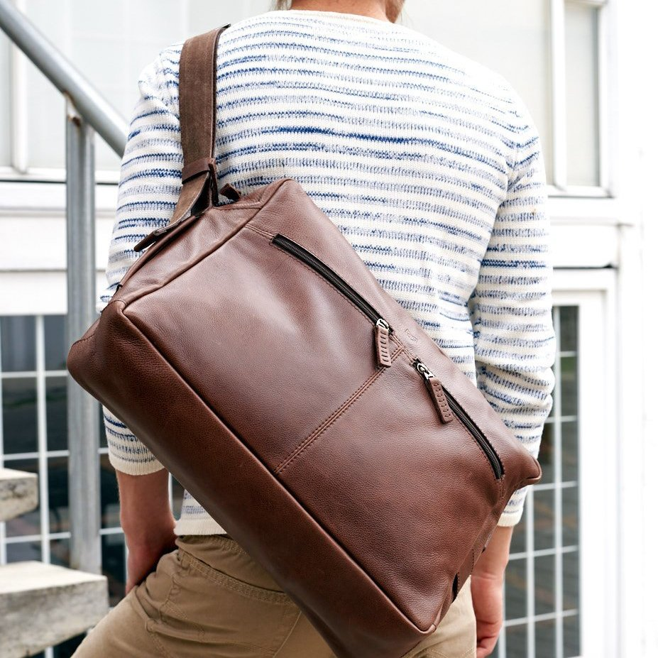 Brown Leather Addox Messenger Bag