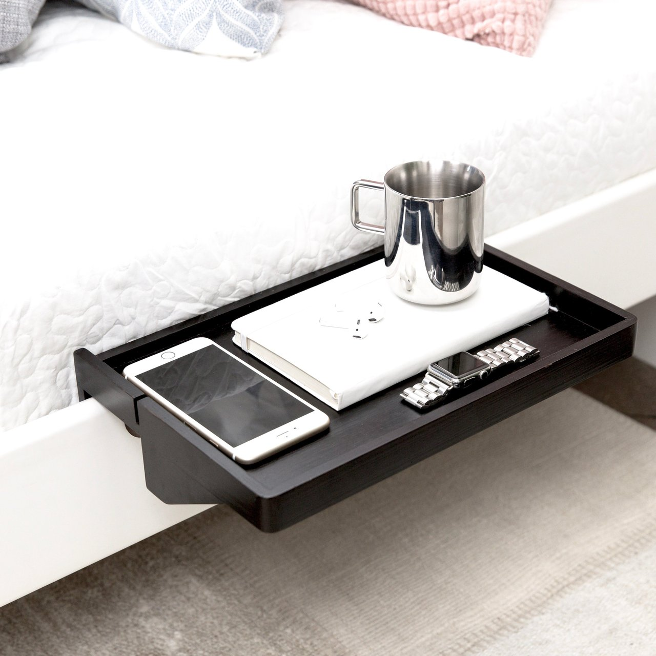 Sublime gadgets bedshelfie space saving minimalist for Space saving nightstand
